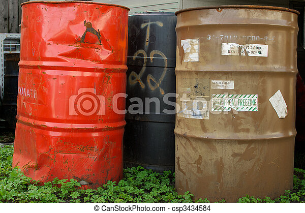Old Chemical Barrels in Clover - csp3434584