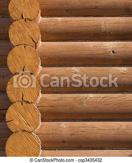 Log house structure of wood building home exterior - csp3435432