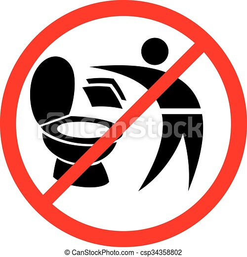 Bathroom Signs Eps vector clipart of please do not throw paper towels in toilet sign