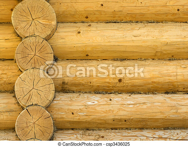 Log house structure of wood building home exterior - csp3436025