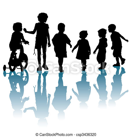 Vector Clipart of Kids - Children are walking and talking about ...
