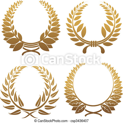 Set of laurel wreaths - csp3436407