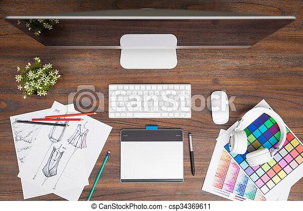 Stock de fotograf a de cima moda espacio de trabajo - Disenador de espacios ...