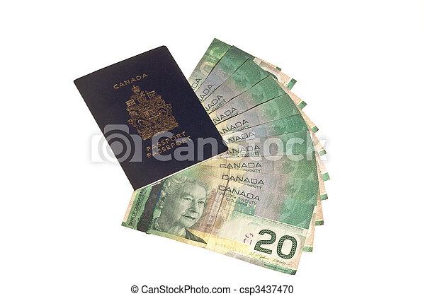 dinheiro, passaporte, canadense - csp3437470