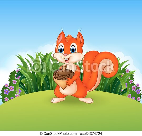 Cute little squirrel holding nut - csp34374724