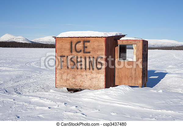 Ice fishing hut - csp3437480