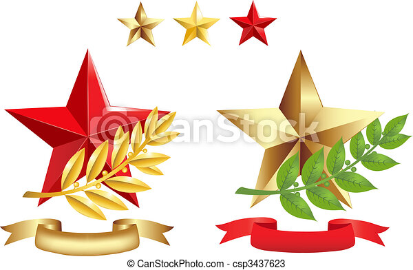 Signs Set (Stars, Laurel Branches and Ribbons) - csp3437623