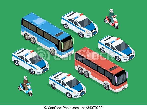 Polizeiwache clipart  Vektor Clipart von auto, autokolonne, design, wohnung, polizei ...