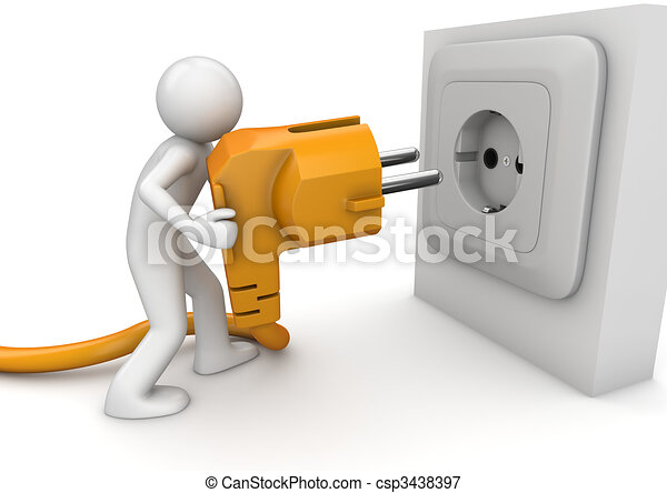 Man plugging AC power cord - csp3438397