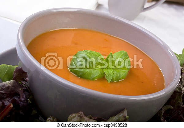 Tomato Soup with Basil Garnish - csp3438528
