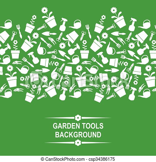 vectors illustration of garden tools background on green