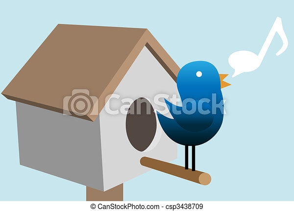 Tweety bird tweet tweets on bird house - csp3438709