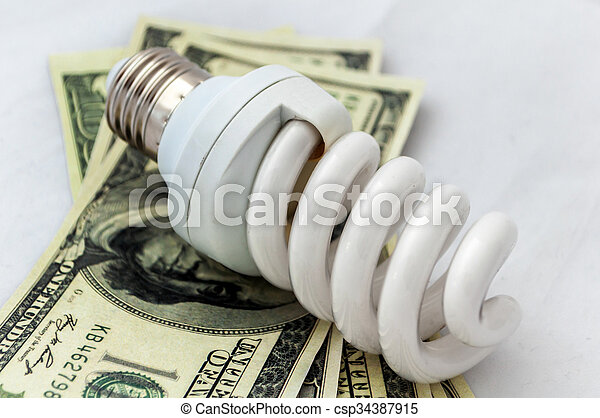 Energy saving lamp isolated on white background with money
