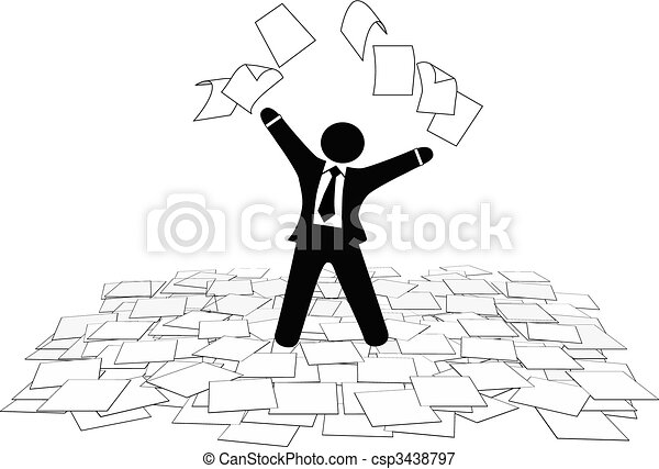 Business man throws paper work pages to air floor - csp3438797