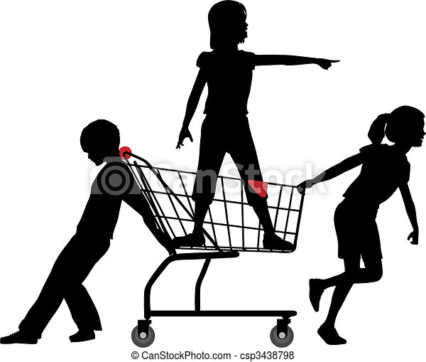 Kids get cart rolling in big shopping expedition - csp3438798