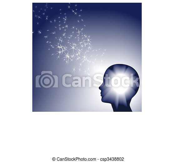 Person faces brilliant inspration as white sparkle light - csp3438802