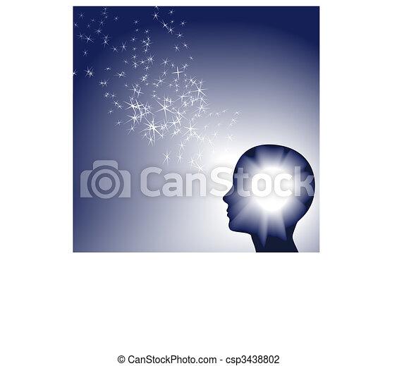 Person faces brilliant inspration as white sparkle light - csp3438802