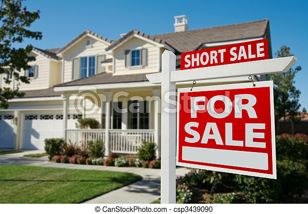 Short Sale Real Estate Sign and House - Right - csp3439090