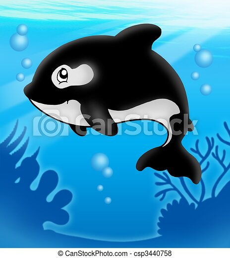 caricatura, asesino, ballena, mar - csp3440758