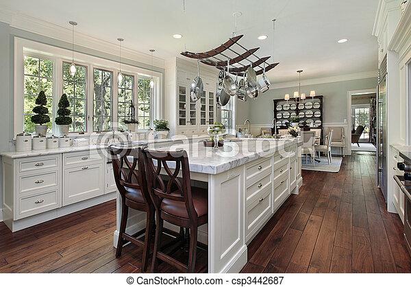 Plaatje van graniet, witte, keuken, eiland   keuken, in, luxe ...