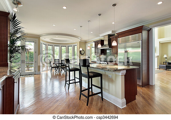 Kitchen with curved eating area - csp3442694