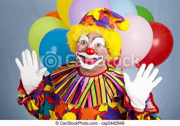 banque de photographies de surprise anniversaire clown heureux anniversaire. Black Bedroom Furniture Sets. Home Design Ideas
