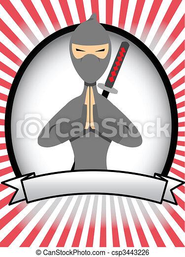 Cartoon Ninja Oval Banner Ad - csp3443226