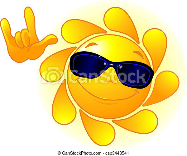 Cute Sun with sunglasses - csp3443541