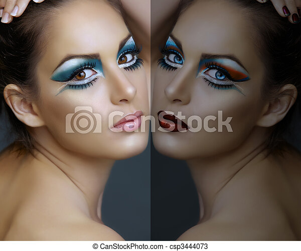 Woman with turquoise make-up. - csp3444073
