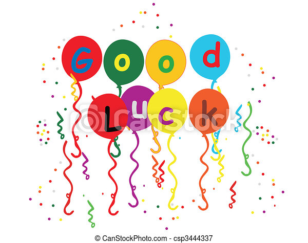 Good Luck Balloons , streamers and confetti illustration - csp3444337