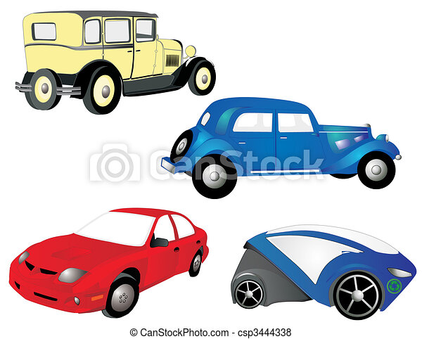 From the old to the new, cars, in red, blue and yellow, grow, as we need more transportation, economical and practical. - csp3444338