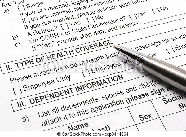 Health Insurance Application with Pen - csp3444364