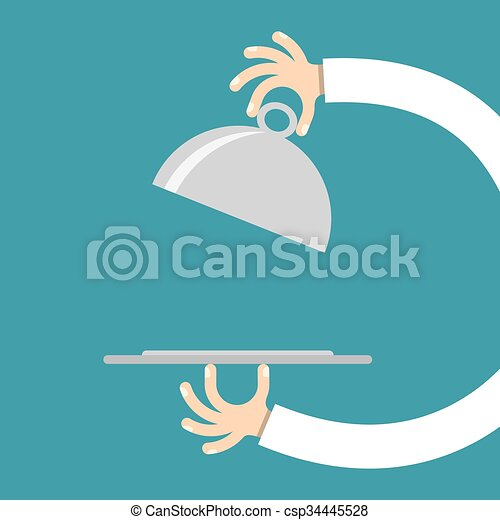 Vector Illustration of Waiter hands with cloche lid - Waiter hand ...
