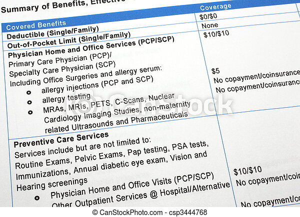 Healthcare Benefits Summary - csp3444768