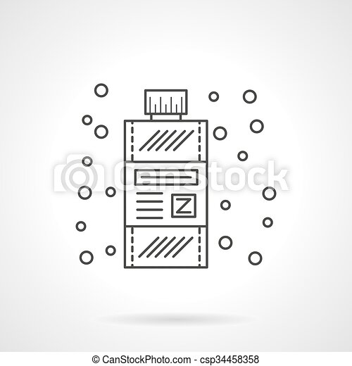 Clipart Vector of Mouthwash flat line design vector icon ...