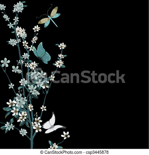 blossom and insects vector - csp3445878