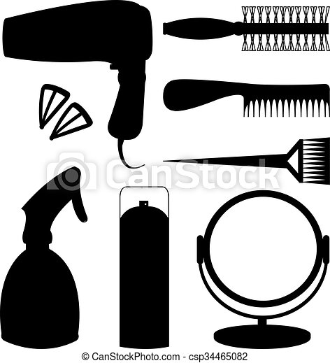 Vecteur , icônes, Accessoires, cheveux, noir, coiffeur, Outils