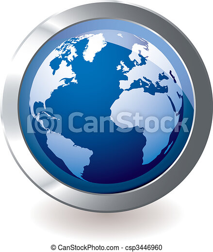 blue icon earth globe - csp3446960