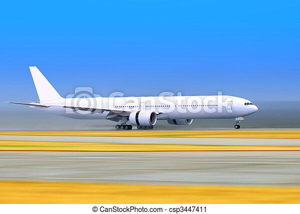 plane on a runway - csp3447411