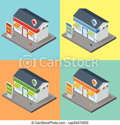 Supermarkt gebäude clipart  Vektor Clipart von dekorativ, wohnung, gebäude, satz, speicher ...