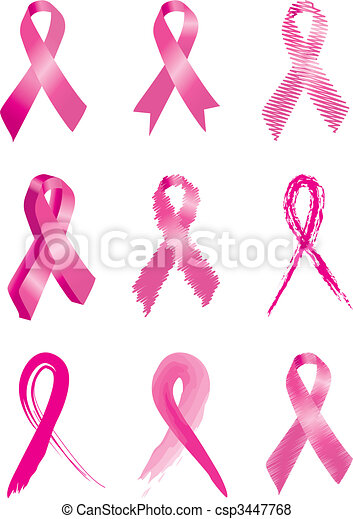 Set of 9 Pink breast cancer ribbons - csp3447768
