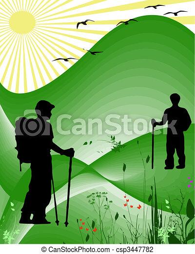 hikers vector - csp3447782