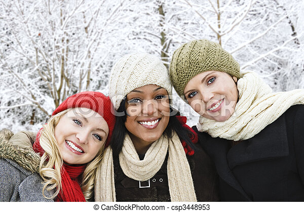 Group of girl friends outside in winter - csp3448953