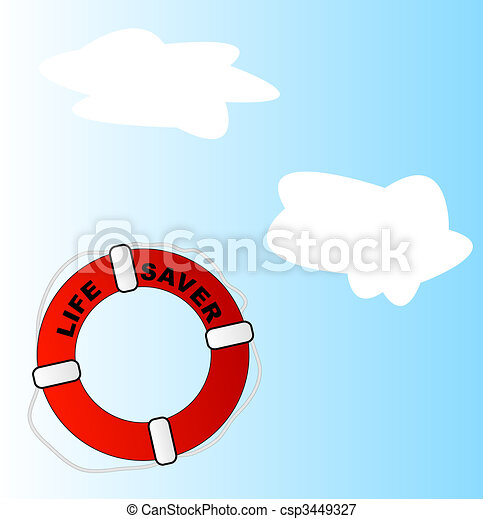 life preserver thrown into sky - csp3449327