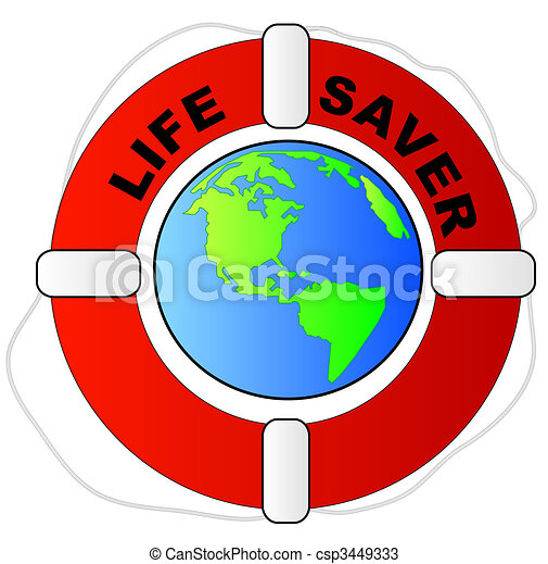 life preserver surrounding the earth - global protection concept - csp3449333