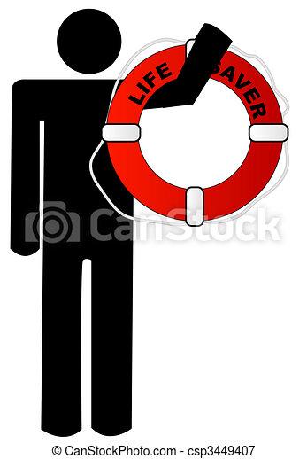 man holding life preserver - csp3449407
