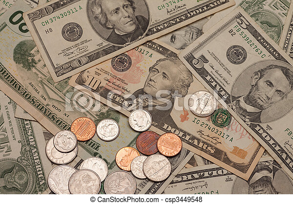 United states currency, bills and coins - csp3449548