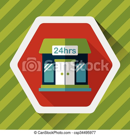 Building convenient store flat icon with long shadow,eps10 - csp34495977