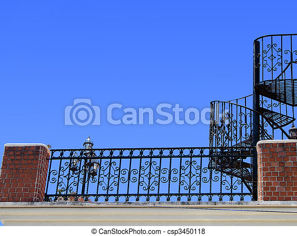 Wrought iron stairs and baluster - csp3450118