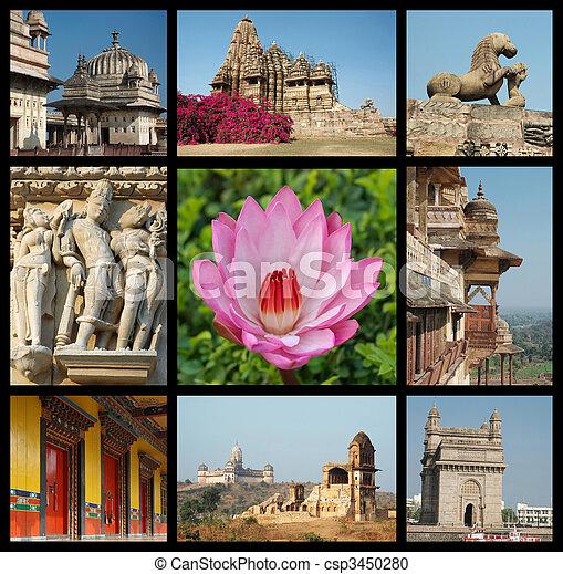 Andare, India, collage, -, fondo, viaggiare, foto, indiano, limiti - csp3450280